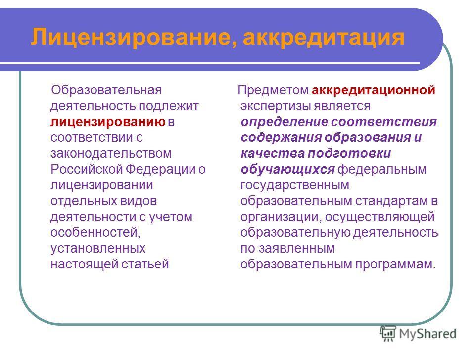 Лицензирование, аккредитация Образовательная деятельность подлежит лицензированию в соответствии с законодательством Российской Федерации о лицензировании отдельных видов деятельности с учетом особенностей, установленных настоящей статьей Предметом а