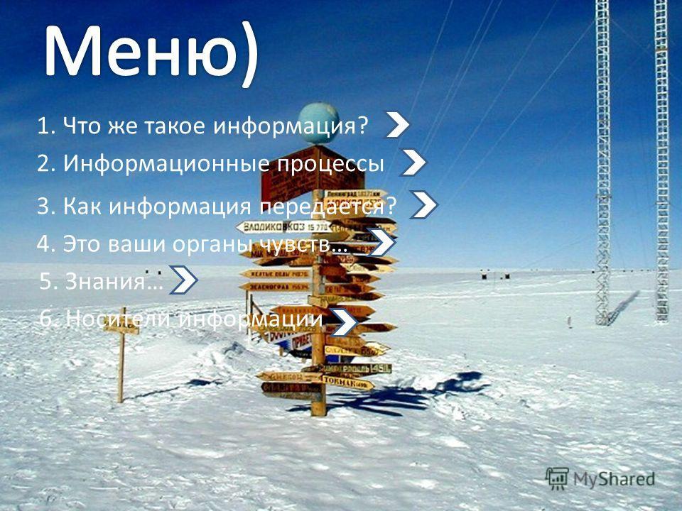 1. Что же такое информация? 2. Информационные процессы 3. Как информация передается? 4. Это ваши органы чувств… 5. Знания… 6. Носители информации