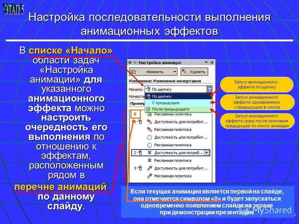 15 Если текущая анимация является первой на слайде, она отмечается символом «0» и будет запускаться одновременно появлением слайда на экране при демонстрации презентации. Настройка последовательности выполнения анимационных эффектов В списке «Начало»