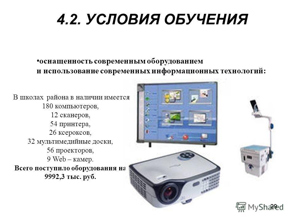 29 оснащенность современным оборудованием и использование современных информационных технологий: В школах района в наличии имеется 180 компьютеров, 12 сканеров, 54 принтера, 26 ксероксов, 32 мультимедийные доски, 56 проекторов, 9 Web – камер. Всего п
