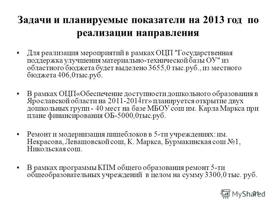 31 Задачи и планируемые показатели на 2013 год по реализации направления Для реализация мероприятий в рамках ОЦП