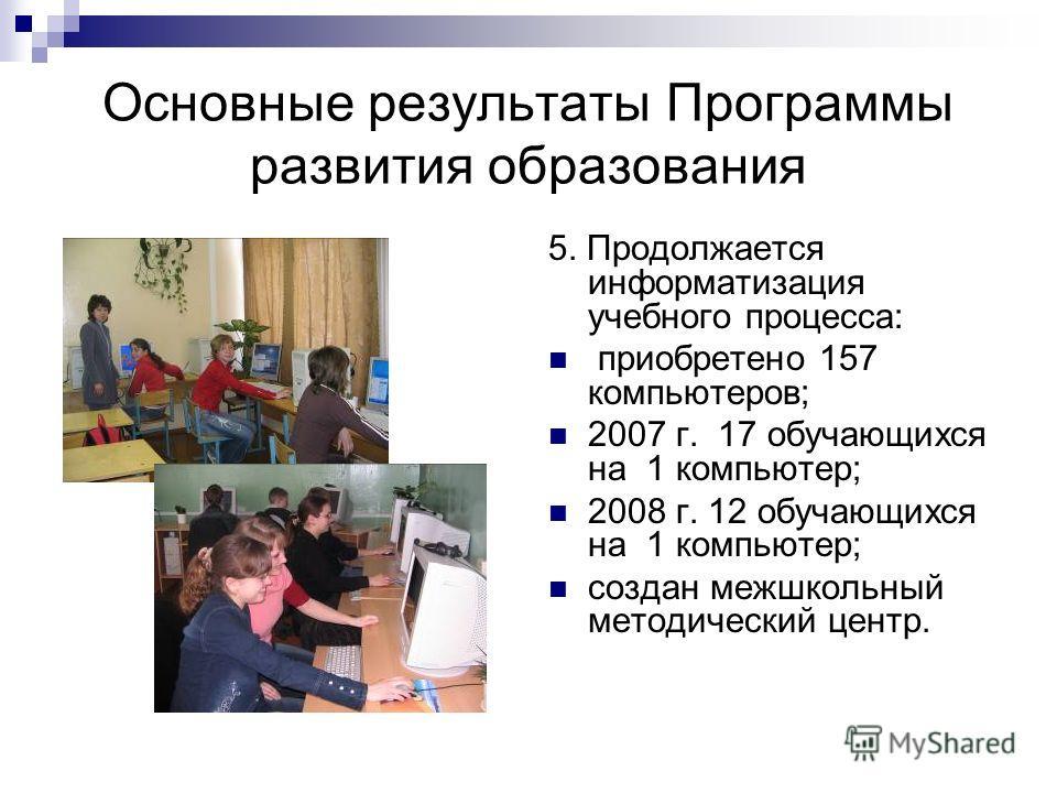 Основные результаты Программы развития образования 5. Продолжается информатизация учебного процесса: приобретено 157 компьютеров; 2007 г. 17 обучающихся на 1 компьютер; 2008 г. 12 обучающихся на 1 компьютер; создан межшкольный методический центр.