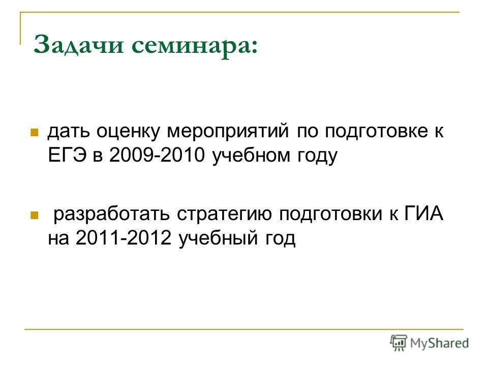 Задачи семинара: дать оценку мероприятий по подготовке к ЕГЭ в 2009-2010 учебном году разработать стратегию подготовки к ГИА на 2011-2012 учебный год