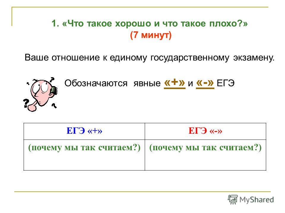 ЕГЭ «+»ЕГЭ «-» (почему мы так считаем?) 1.«Что такое хорошо и что такое плохо?» (7 минут) Ваше отношение к единому государственному экзамену. Обозначаются явные «+» и «-» ЕГЭ «+» «-»
