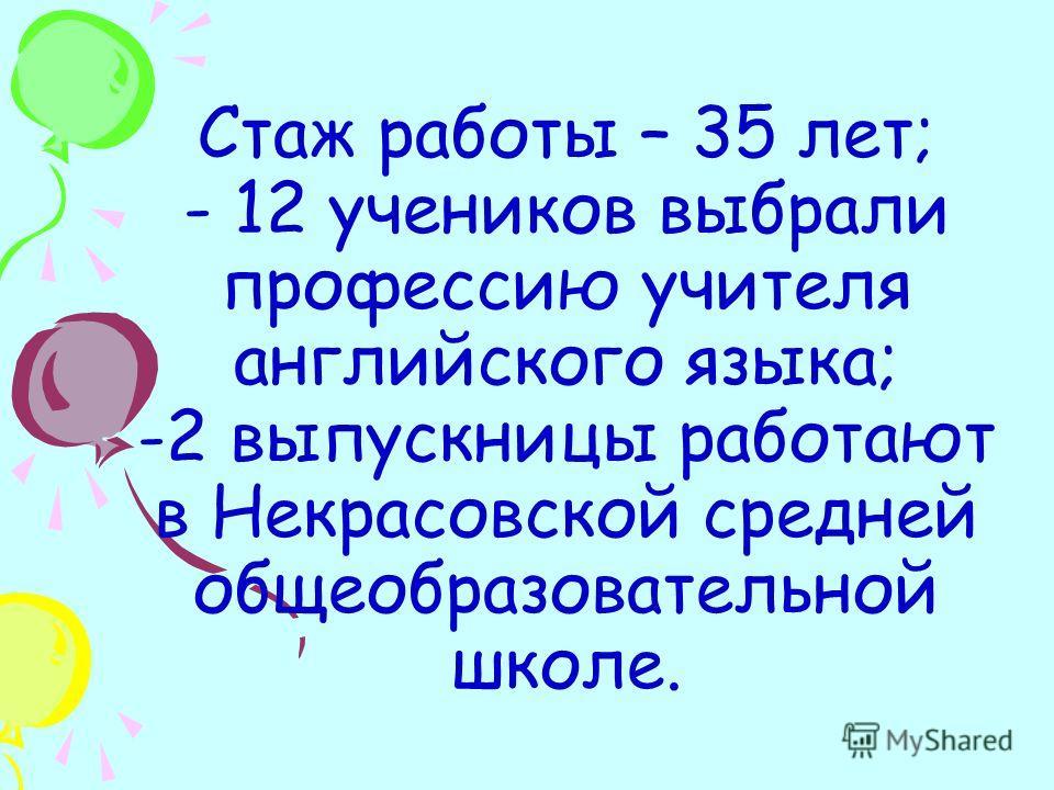 Стаж работы – 35 лет; - 12 учеников выбрали профессию учителя английского языка; -2 выпускницы работают в Некрасовской средней общеобразовательной школе.