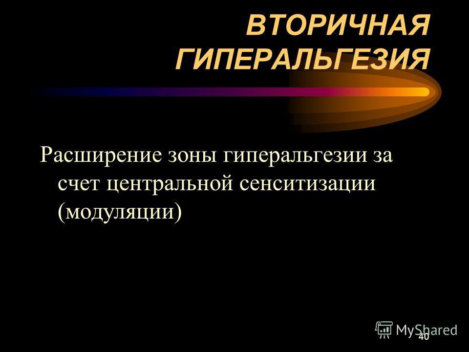 40 ВТОРИЧНАЯ ГИПЕРАЛЬГЕЗИЯ Расширение зоны гиперальгезии за счет центральной сенситизации (модуляции)