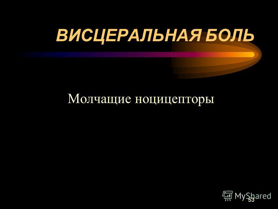 53 ВИСЦЕРАЛЬНАЯ БОЛЬ Молчащие ноцицепторы