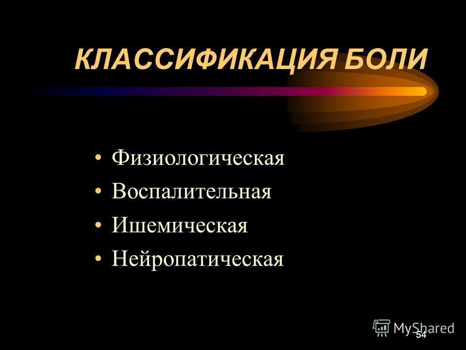 54 КЛАССИФИКАЦИЯ БОЛИ Физиологическая Воспалительная Ишемическая Нейропатическая