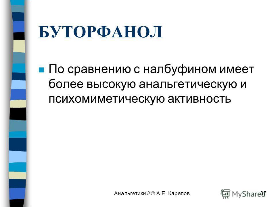 Анальгетики // © А.Е. Карелов37 БУТОРФАНОЛ n По сравнению с налбуфином имеет более высокую анальгетическую и психомиметическую активность