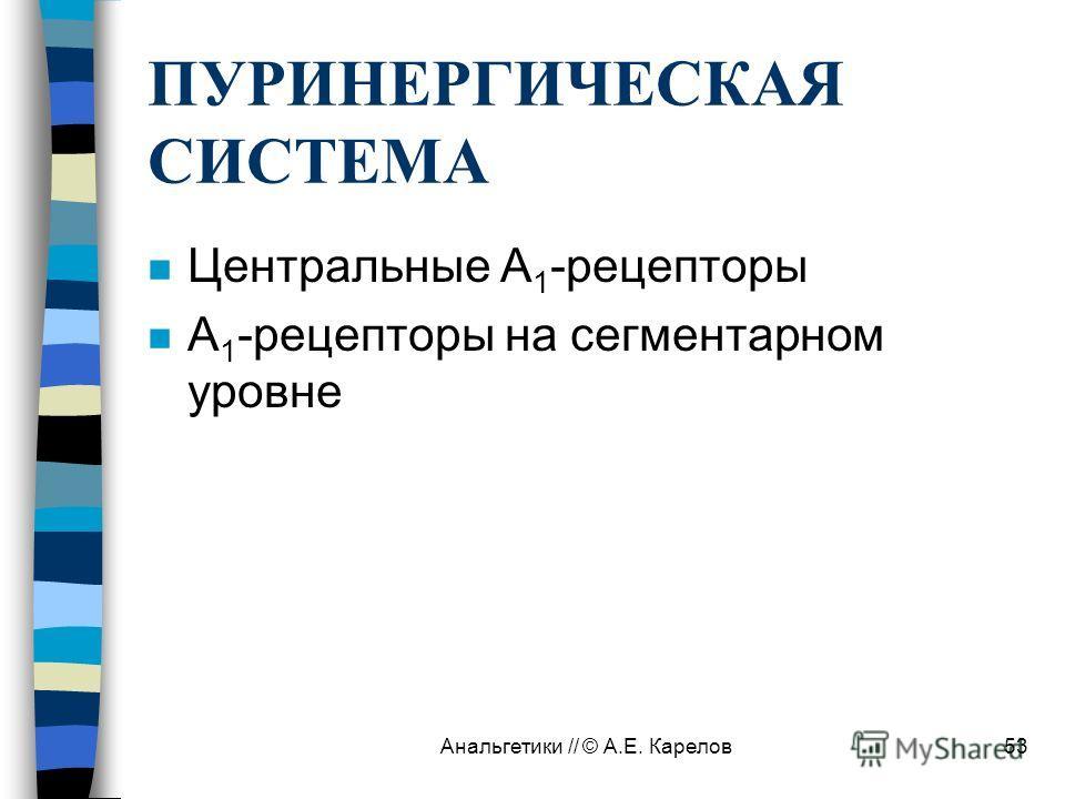 Анальгетики // © А.Е. Карелов53 ПУРИНЕРГИЧЕСКАЯ СИСТЕМА n Центральные А 1 -рецепторы n А 1 -рецепторы на сегментарном уровне