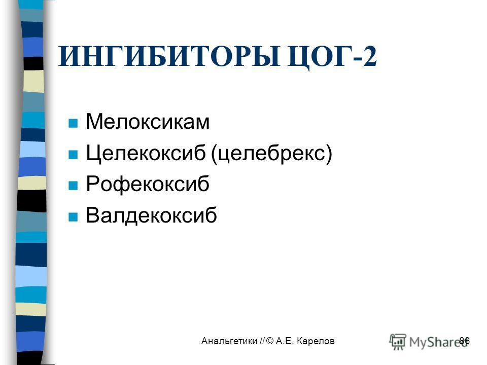 Анальгетики // © А.Е. Карелов86 ИНГИБИТОРЫ ЦОГ-2 n Мелоксикам n Целекоксиб (целебрекс) n Рофекоксиб n Валдекоксиб