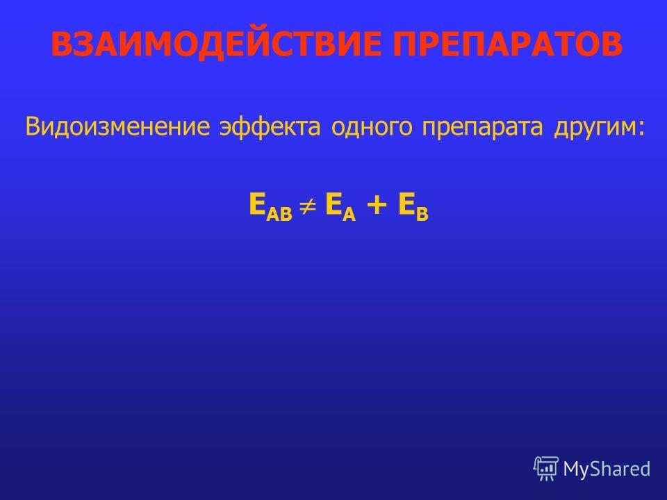Видоизменение эффекта одного препарата другим: E AB E A + E B ВЗАИМОДЕЙСТВИЕ ПРЕПАРАТОВ