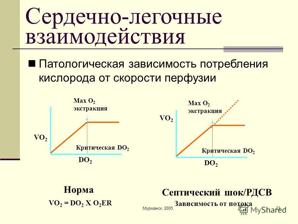 Мурманск, 200523 Сердечно-легочные взаимодействия Max O 2 экстракция Критическая DO 2 VO 2 = DO 2 X O 2 ER DO 2 VO 2 Норма Max O 2 экстракция Критическая DO 2 Зависимость от потока DO 2 VO 2 Септический шок/РДСВ Патологическая зависимость потребления