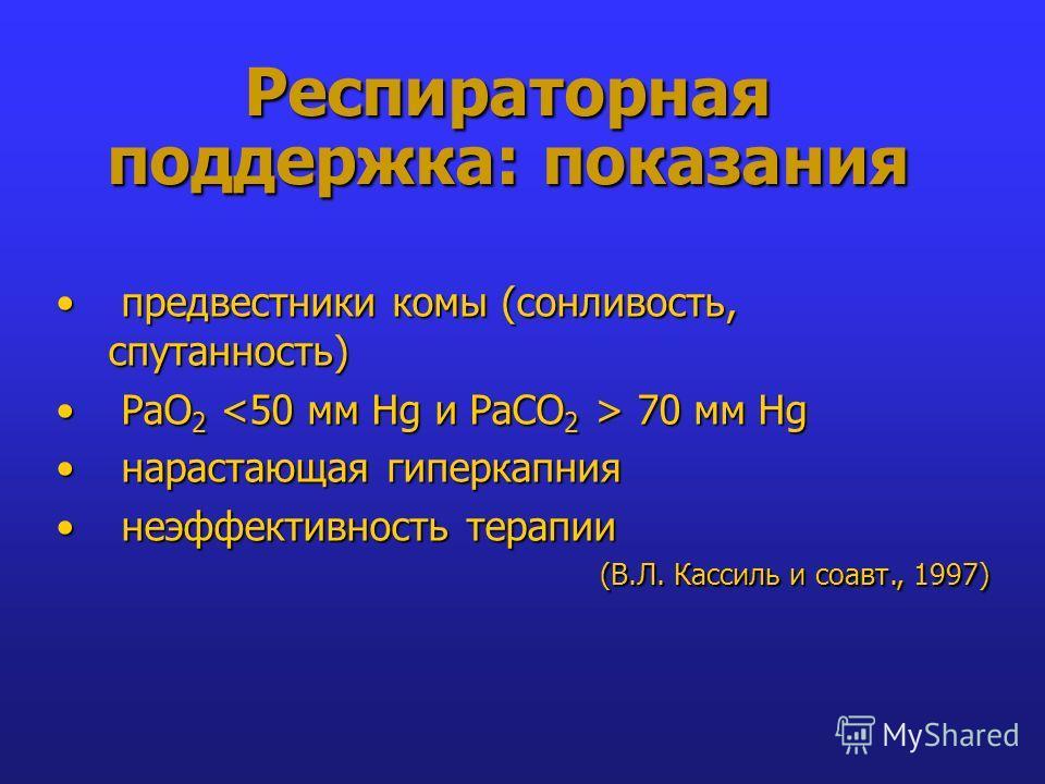 Респираторная поддержка: показания предвестники комы (сонливость, спутанность) предвестники комы (сонливость, спутанность) РаО 2 70 мм Hg РаО 2 70 мм Hg нарастающая гиперкапния нарастающая гиперкапния неэффективность терапии неэффективность терапии (