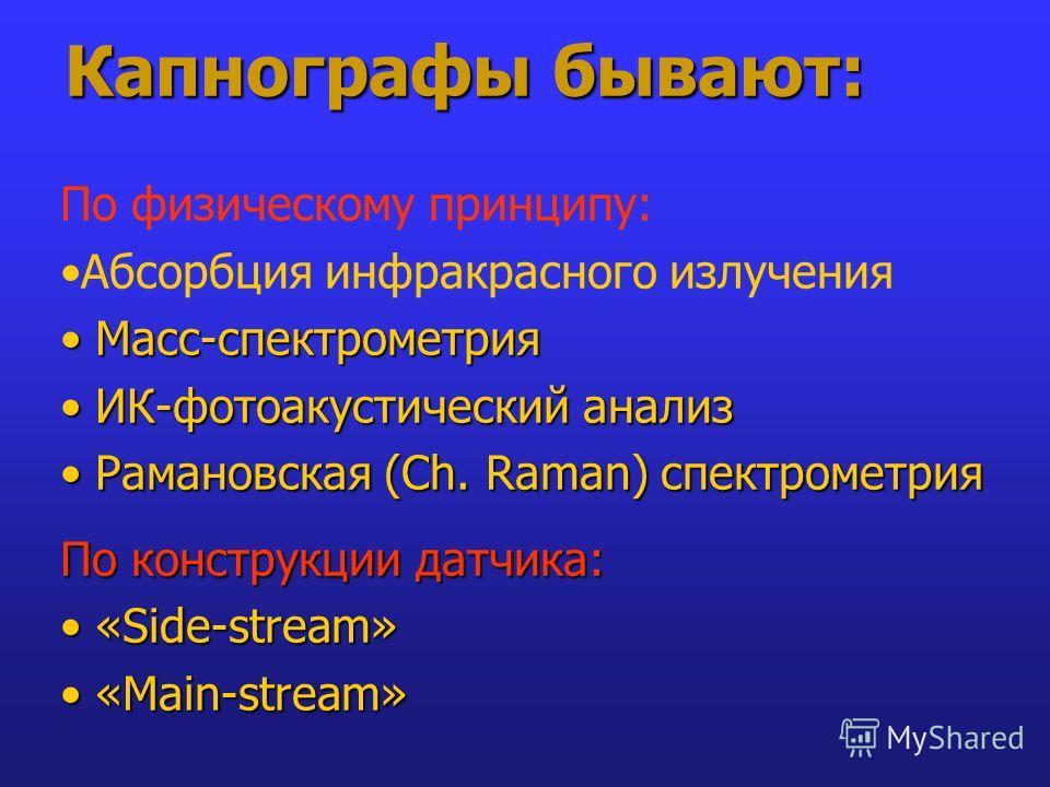 Капнографы бывают: По физическому принципу: Абсорбция инфракрасного излучения Масс-спектрометрия Масс-спектрометрия ИК-фотоакустический анализ ИК-фотоакустический анализ Рамановская (Ch. Raman) спектрометрия Рамановская (Ch. Raman) спектрометрия По к