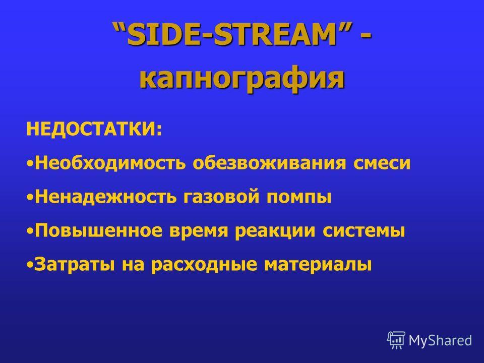 SIDE-STREAM - капнография НЕДОСТАТКИ: Необходимость обезвоживания смеси Ненадежность газовой помпы Повышенное время реакции системы Затраты на расходные материалы
