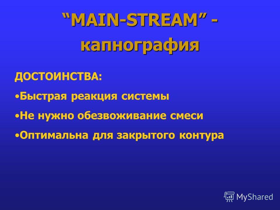 MAIN-STREAM - капнография ДОСТОИНСТВА: Быстрая реакция системы Не нужно обезвоживание смеси Оптимальна для закрытого контура