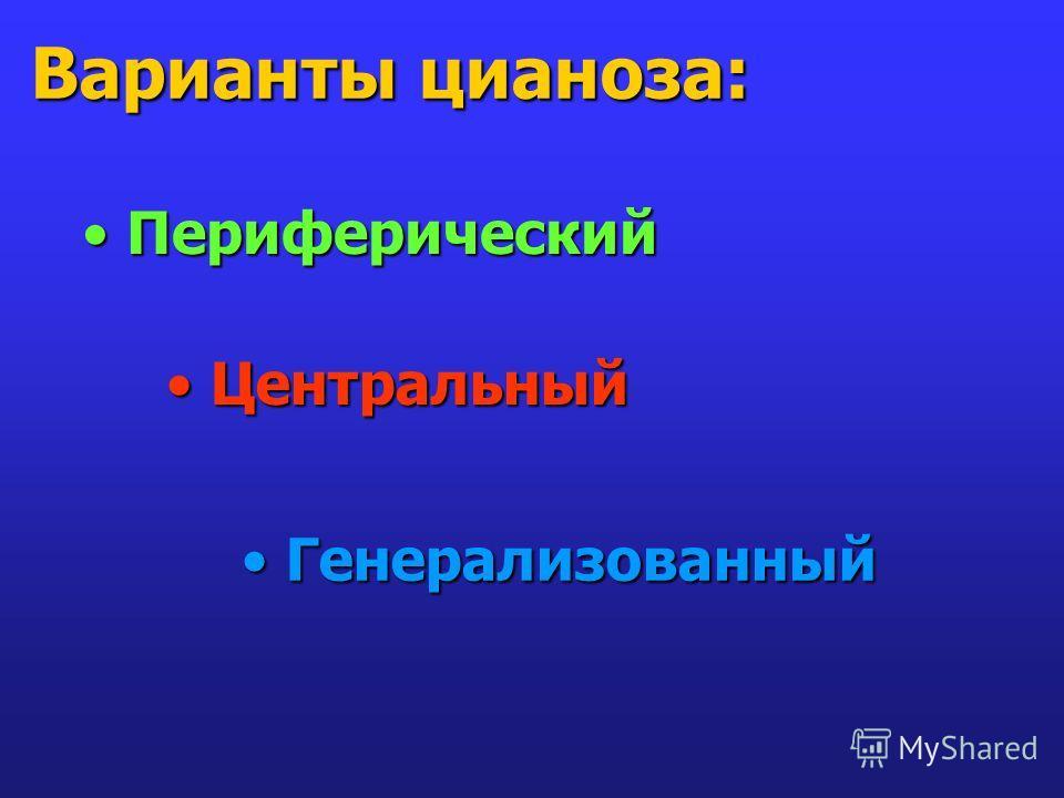 Варианты цианоза: Периферический Периферический Центральный Центральный Генерализованный Генерализованный