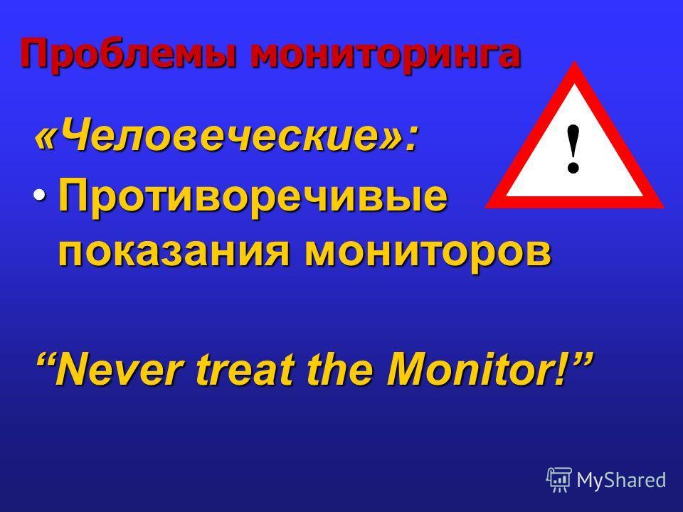 Проблемы мониторинга «Человеческие»: Противоречивые показания мониторовПротиворечивые показания мониторов Never treat the Monitor! !