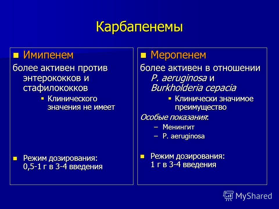 Карбапенемы Имипенем Имипенем более активен против энтерококков и стафилококков Клинического значения не имеет Клинического значения не имеет Режим дозирования: 0,5-1 г в 3-4 введения Режим дозирования: 0,5-1 г в 3-4 введения Меропенем Меропенем боле