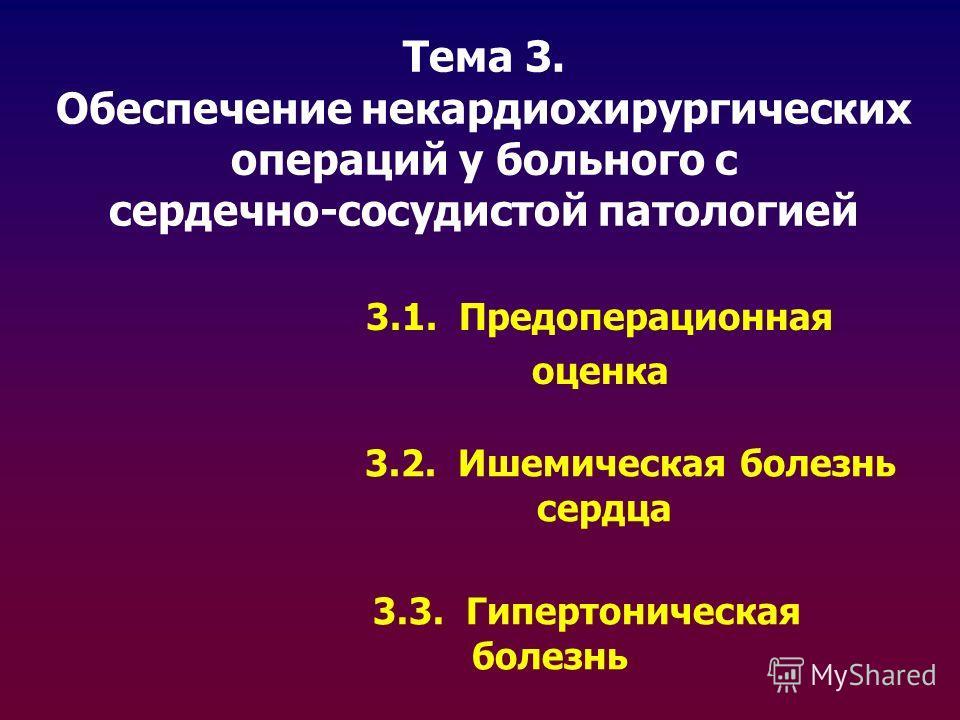 Тема 3. Обеспечение некардиохирургических операций у больного с сердечно-сосудистой патологией 3.1. Предоперационная оценка 3.2. Ишемическая болезнь сердца 3.3. Гипертоническая болезнь