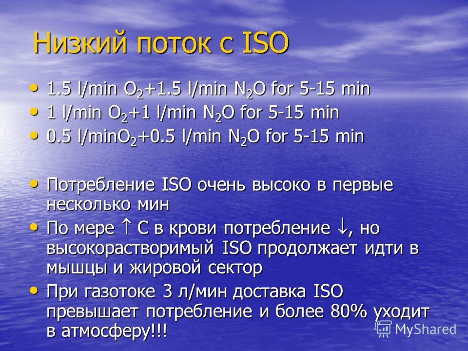 Низкий поток с ISO 1.5 l/min O 2 +1.5 l/min N 2 O for 5-15 min 1.5 l/min O 2 +1.5 l/min N 2 O for 5-15 min 1 l/min O 2 +1 l/min N 2 O for 5-15 min 1 l/min O 2 +1 l/min N 2 O for 5-15 min 0.5 l/minO 2 +0.5 l/min N 2 O for 5-15 min 0.5 l/minO 2 +0.5 l/