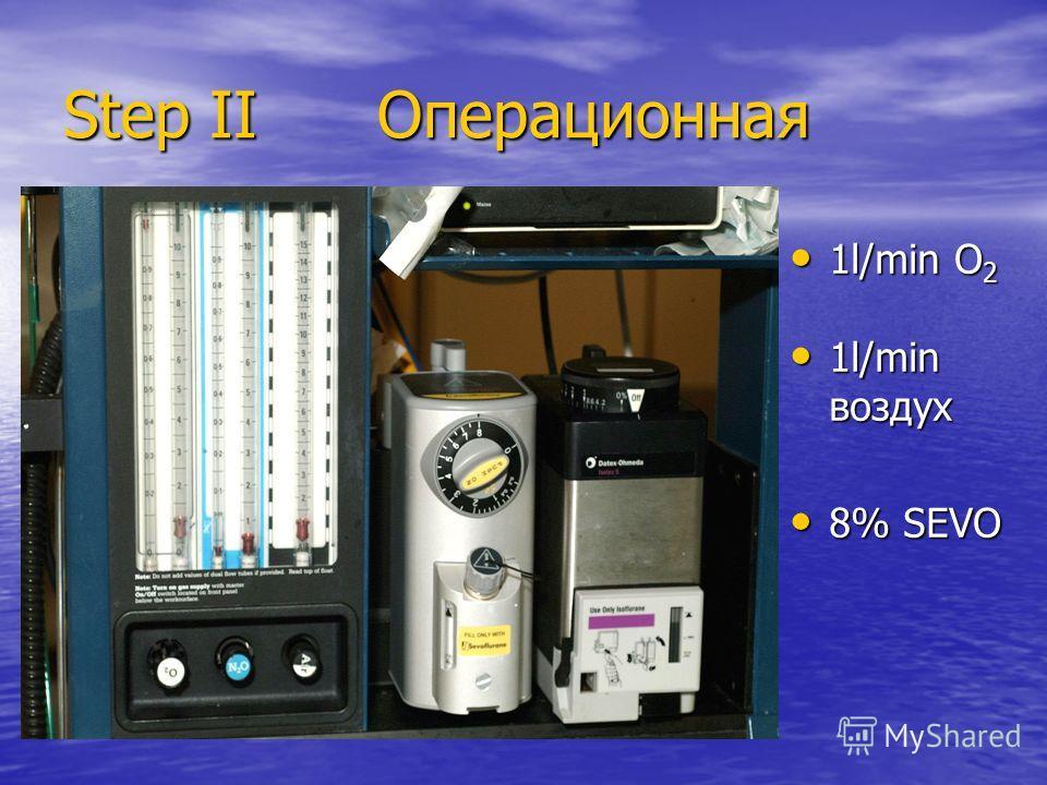 Step IIОперационная 1l/min O 2 1l/min O 2 1l/min воздух 1l/min воздух 8% SEVO 8% SEVO
