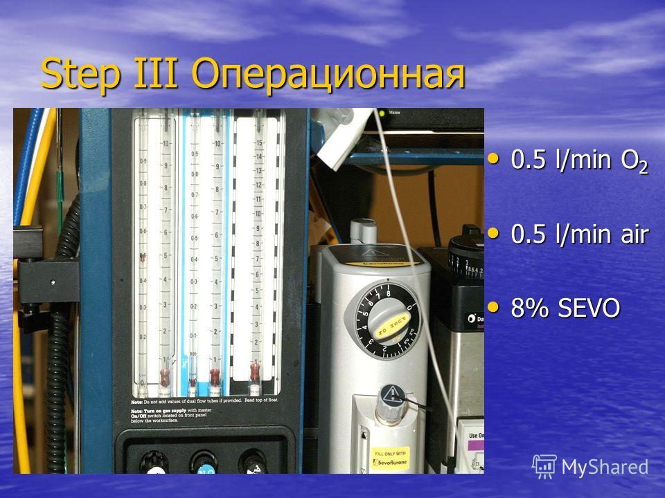 Step III Операционная 0.5 l/min O 2 0.5 l/min O 2 0.5 l/min air 0.5 l/min air 8% SEVO 8% SEVO