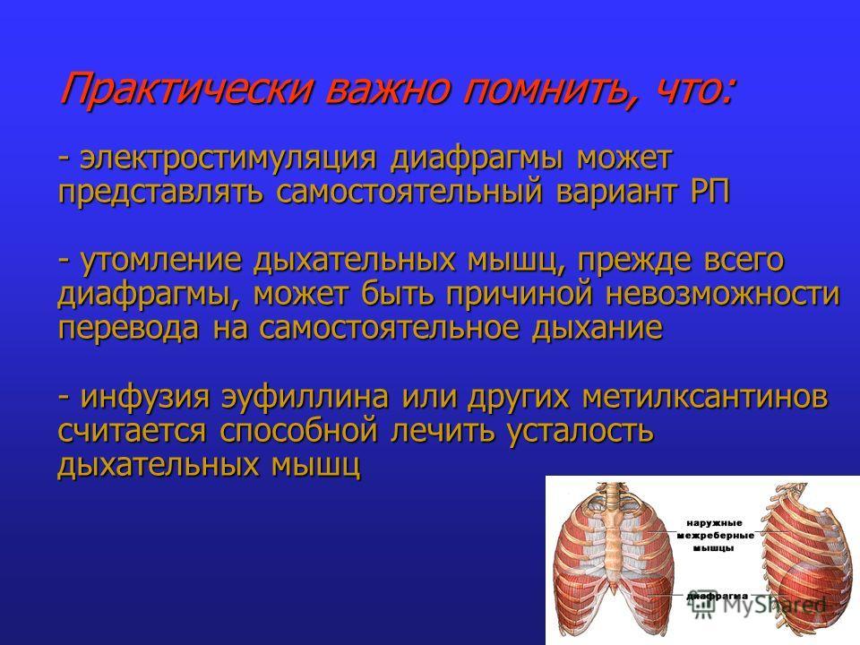 Практически важно помнить, что: - электростимуляция диафрагмы может представлять самостоятельный вариант РП - утомление дыхательных мышц, прежде всего диафрагмы, может быть причиной невозможности перевода на самостоятельное дыхание - инфузия эуфиллин