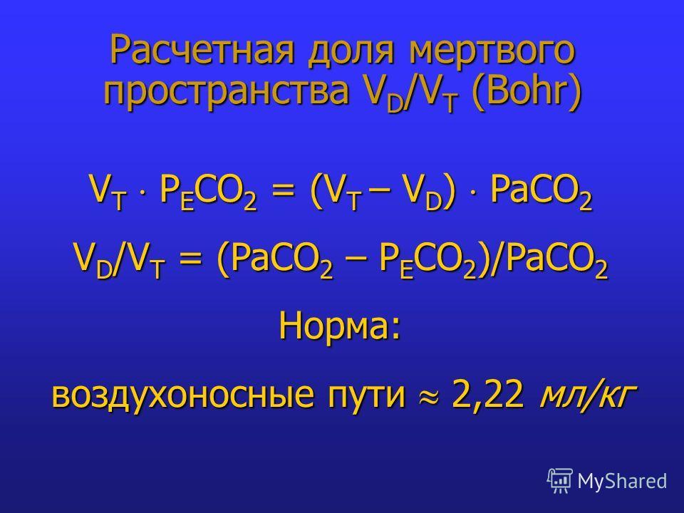 Расчетная доля мертвого пространства V D /V T (Bohr) V T P E CO 2 = (V T – V D ) PaCO 2 V D /V T = (PaCO 2 – P E CO 2 )/PaCO 2 Норма: воздухоносные пути 2,22 мл/кг