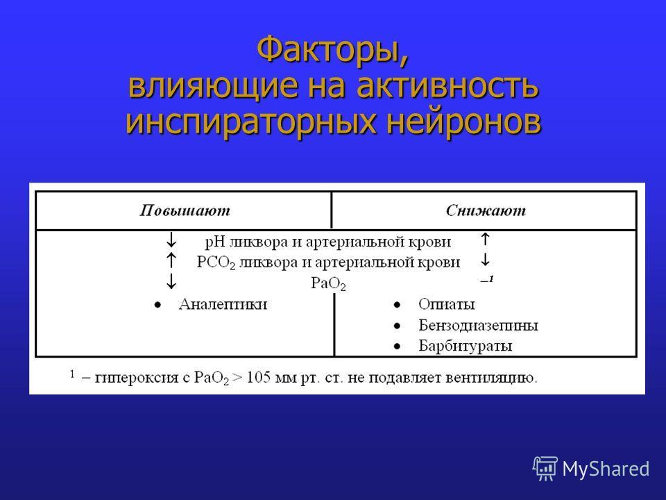 Факторы, влияющие на активность инспираторных нейронов