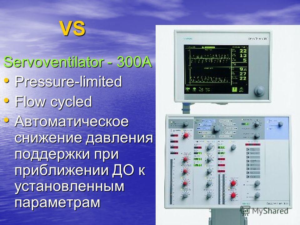 109 VS Servoventilator - 300A Pressure-limited Pressure-limited Flow cycled Flow cycled Автоматическое снижение давления поддержки при приближении ДО к установленным параметрам Автоматическое снижение давления поддержки при приближении ДО к установле