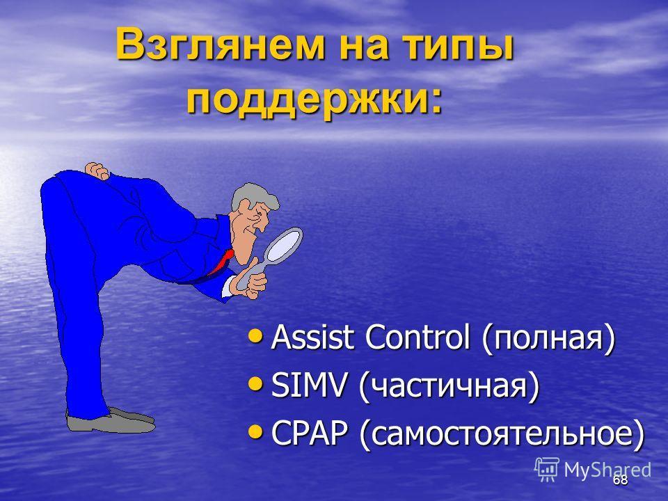 68 Взглянем на типы поддержки: Assist Control (полная) Assist Control (полная) SIMV (частичная) SIMV (частичная) CPAP (самостоятельное) CPAP (самостоятельное)