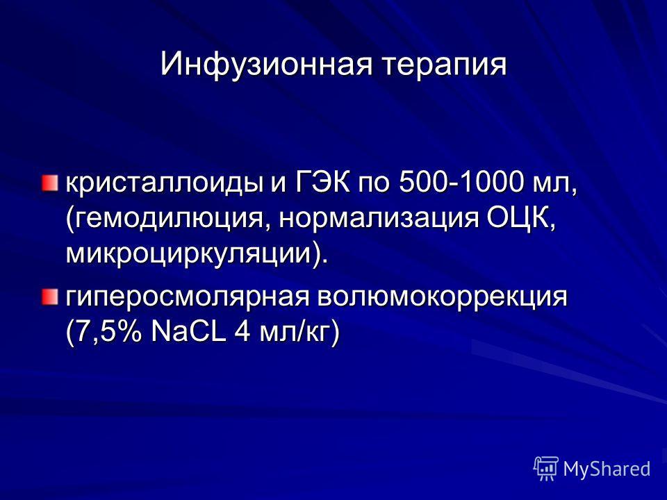 Инфузионная терапия кристаллоиды и ГЭК по 500-1000 мл, (гемодилюция, нормализация ОЦК, микроциркуляции). гиперосмолярная волюмокоррекция (7,5% NaCL 4 мл/кг)