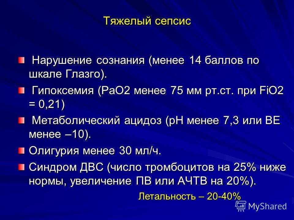 Тяжелый сепсис Нарушение сознания (менее 14 баллов по шкале Глазго). Нарушение сознания (менее 14 баллов по шкале Глазго). Гипоксемия (РаО2 менее 75 мм рт.ст. при FiО2 = 0,21) Гипоксемия (РаО2 менее 75 мм рт.ст. при FiО2 = 0,21) Метаболический ацидоз