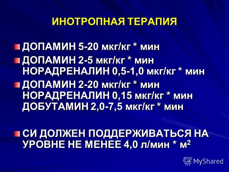 ИНОТРОПНАЯ ТЕРАПИЯ ДОПАМИН 5-20 мкг/кг * мин ДОПАМИН 2-5 мкг/кг * мин НОРАДРЕНАЛИН 0,5-1,0 мкг/кг * мин ДОПАМИН 2-20 мкг/кг * мин НОРАДРЕНАЛИН 0,15 мкг/кг * мин ДОБУТАМИН 2,0-7,5 мкг/кг * мин СИ ДОЛЖЕН ПОДДЕРЖИВАТЬСЯ НА УРОВНЕ НЕ МЕНЕЕ 4,0 л/мин * м
