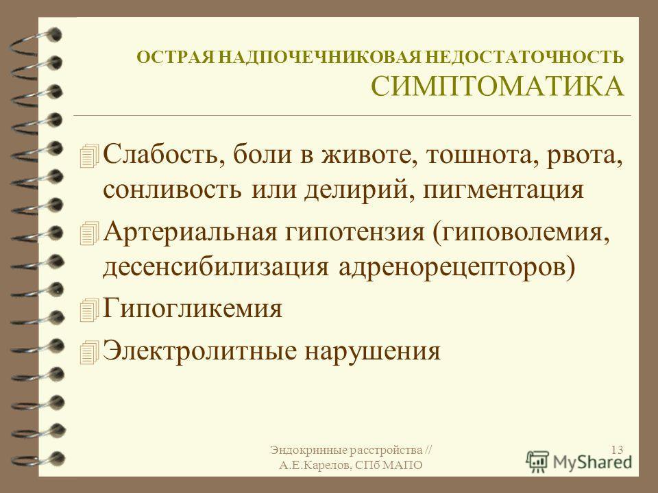 Эндокринные расстройства // А.Е.Карелов, СПб МАПО 13 ОСТРАЯ НАДПОЧЕЧНИКОВАЯ НЕДОСТАТОЧНОСТЬ СИМПТОМАТИКА 4 Слабость, боли в животе, тошнота, рвота, сонливость или делирий, пигментация 4 Артериальная гипотензия (гиповолемия, десенсибилизация адренорец