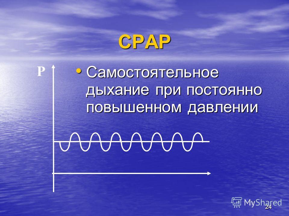 24 CPAP Самостоятельное дыхание при постоянно повышенном давлении Самостоятельное дыхание при постоянно повышенном давлении P