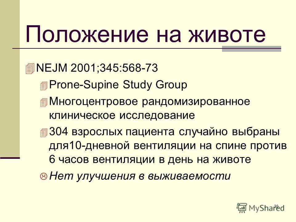 30 Положение на животе NEJM 2001;345:568-73 Prone-Supine Study Group Многоцентровое рандомизированное клиническое исследование 304 взрослых пациента случайно выбраны для10-дневной вентиляции на спине против 6 часов вентиляции в день на животе Нет улу