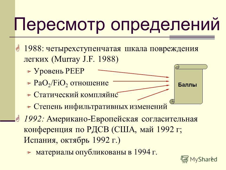 5 Пересмотр определений 1988: четырехступенчатая шкала повреждения легких (Murray J.F. 1988) Уровень PEEP PaO 2 /FiO 2 отношение Статический компляйнс Степень инфильтративных изменений 1992: Американо-Европейская согласительная конференция по РДСВ (С