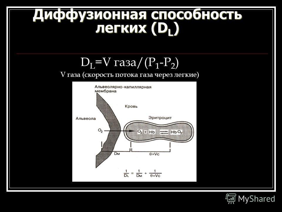 Диффузионная способность легких (D L ) D L =V газа/(Р 1 -Р 2 ) V газа (скорость потока газа через легкие)