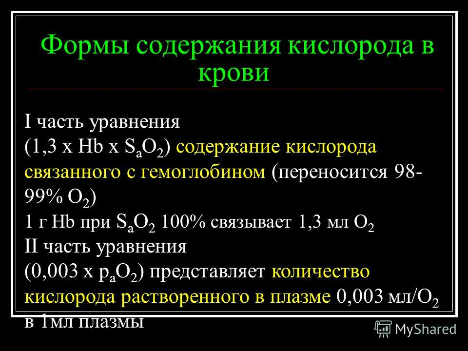 Формы содержания кислорода в крови I часть уравнения (1,3 х Hb x S a O 2 ) содержание кислорода связанного с гемоглобином (переносится 98- 99% O 2 ) 1 г Hb при S a O 2 100% связывает 1,3 мл О 2 II часть уравнения (0,003 x p a O 2 ) представляет колич