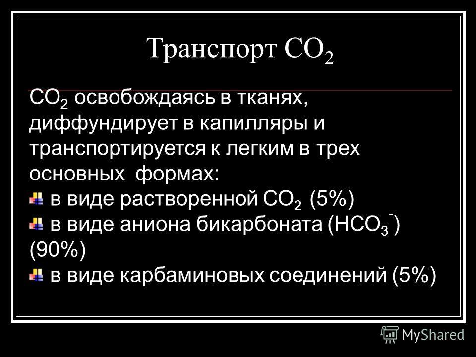 Транспорт СО 2 СО 2 освобождаясь в тканях, диффундирует в капилляры и транспортируется к легким в трех основных формах: в виде растворенной СО 2 (5%) в виде аниона бикарбоната (НСО 3 - ) (90%) в виде карбаминовых соединений (5%)