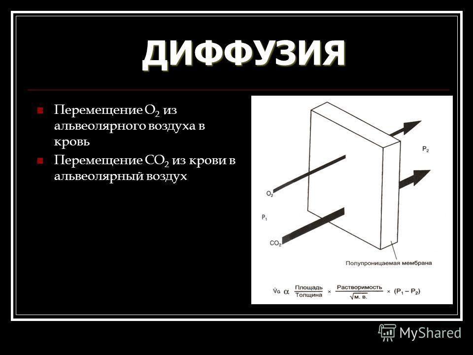 ДИФФУЗИЯ Перемещение О 2 из альвеолярного воздуха в кровь Перемещение СО 2 из крови в альвеолярный воздух