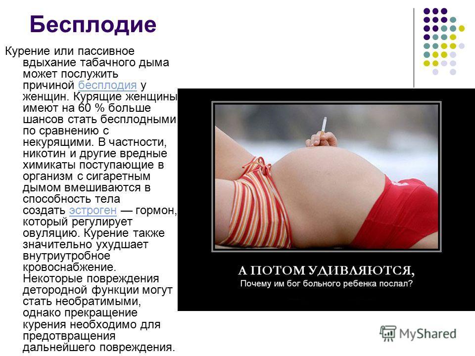 Бесплодие Курение или пассивное вдыхание табачного дыма может послужить причиной бесплодия у женщин. Курящие женщины имеют на 60 % больше шансов стать бесплодными по сравнению с некурящими. В частности, никотин и другие вредные химикаты поступающие в