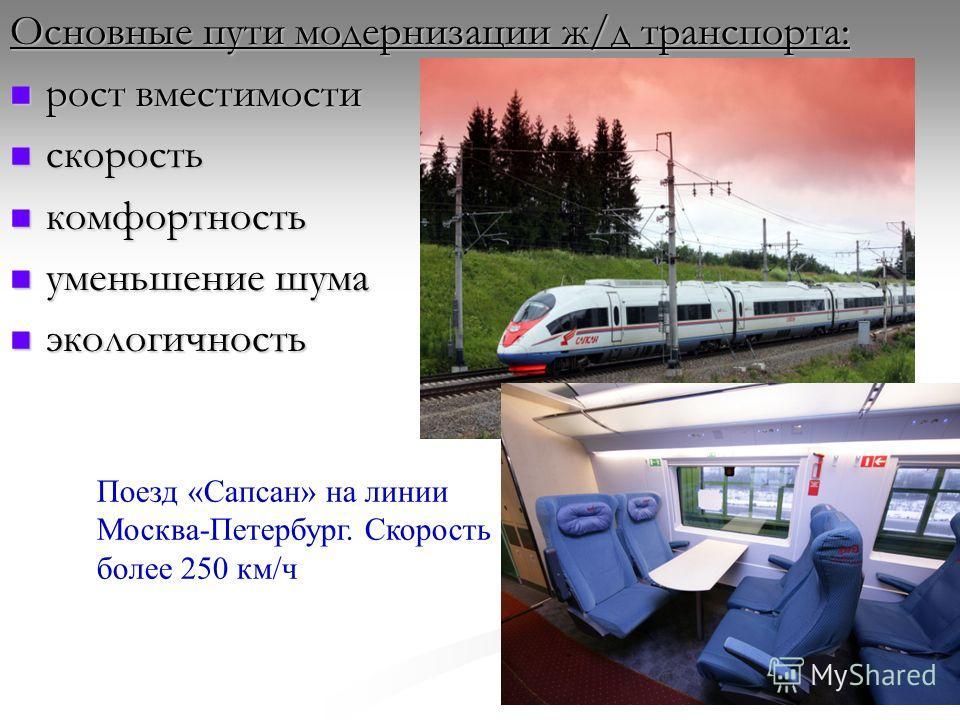 Основные пути модернизации ж/д транспорта: рост вместимости рост вместимости скорость скорость комфортность комфортность уменьшение шума уменьшение шума экологичность экологичность Поезд «Сапсан» на линии Москва-Петербург. Скорость более 250 км/ч
