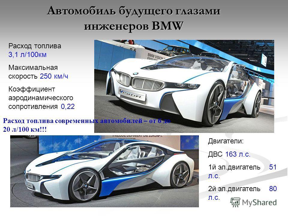 Автомобиль будущего глазами инженеров BMW Расход топлива 3,1 л/100км Максимальная скорость 250 км/ч Коэффициент аэродинамического сопротивления 0,22 Двигатели: ДВС 163 л.с. 1й эл.двигатель 51 л.с. 2й эл.двигатель 80 л.с. Расход топлива современных ав