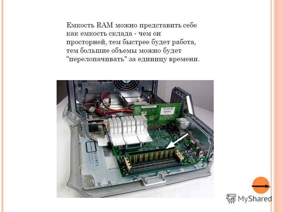 Емкость RAM можно представить себе как емкость склада - чем он просторней, тем быстрее будет работа, тем большие объемы можно будет перелопачивать за единицу времени.