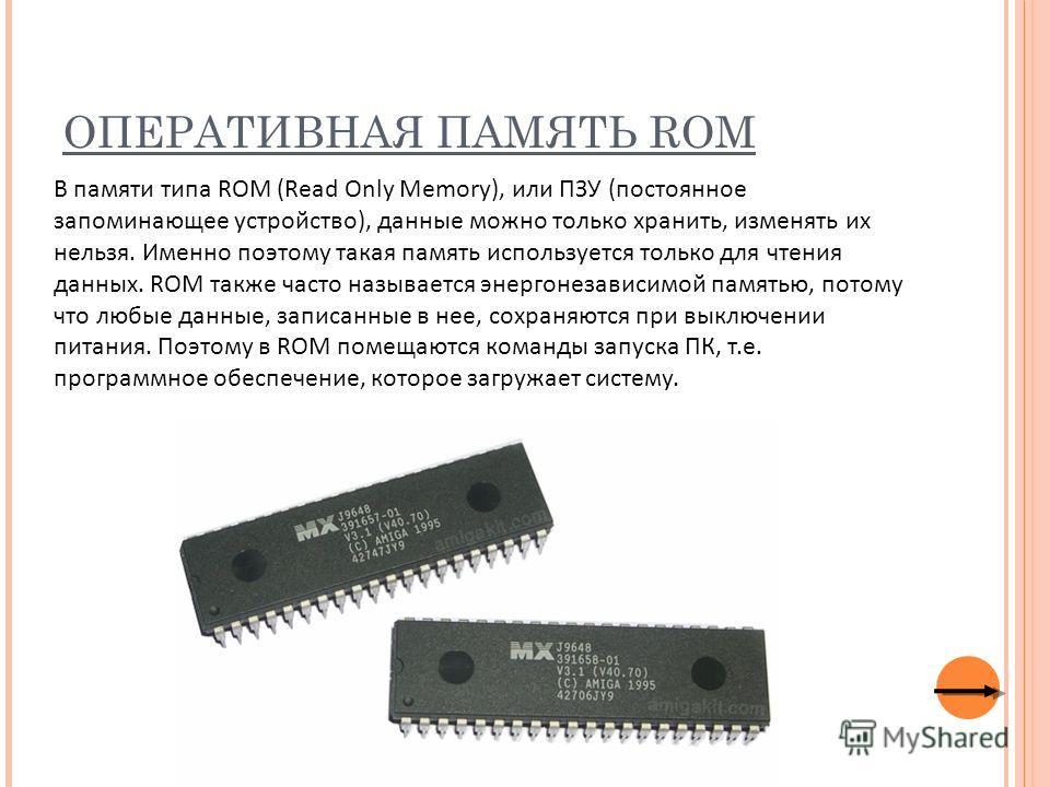 ОПЕРАТИВНАЯ ПАМЯТЬ ROM В памяти типа ROM (Read Only Memory), или ПЗУ (постоянное запоминающее устройство), данные можно только хранить, изменять их нельзя. Именно поэтому такая память используется только для чтения данных. ROM также часто называется