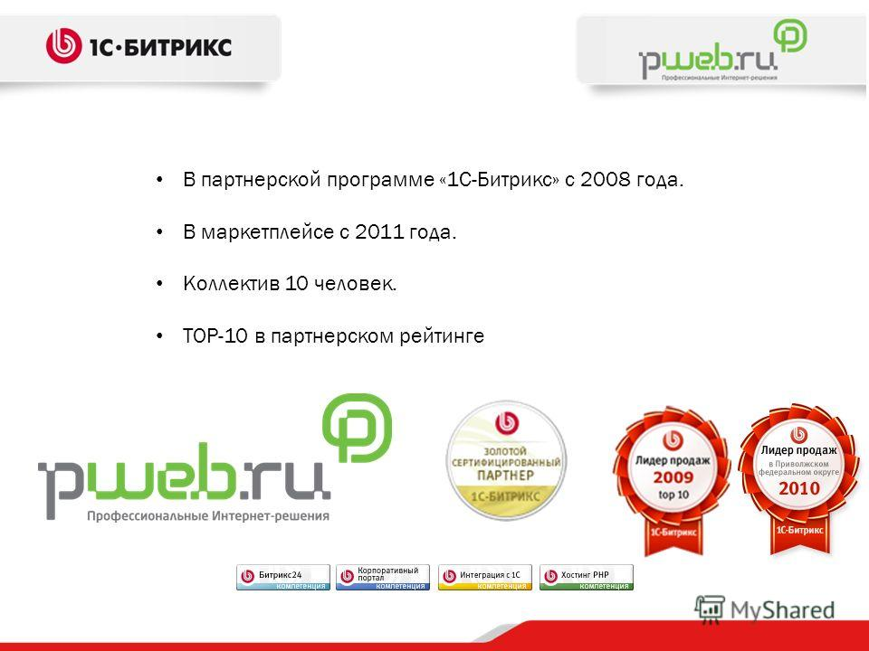 В партнерской программе «1С-Битрикс» с 2008 года. В маркетплейсе с 2011 года. Коллектив 10 человек. TOP-10 в партнерском рейтинге